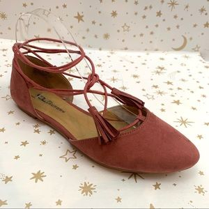 Chinese Laundry   Wrap Fringe Pink D'Orsay Flats